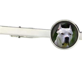Argentine Dogo. Tie clip for dog lovers. Photo jewellery. Men's jewellery. Handmade