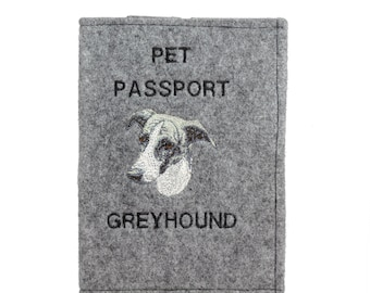 Grey Hound - Passport wallet for the dog with embroidered pattern. New product!