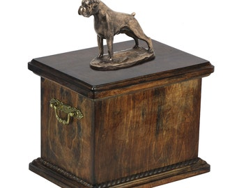 Urn for dog's ashes with a Boxer uncropped statue, ART-DOG Cremation box, Custom urn.