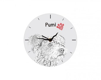 Pumi, Free standing MDF floor clock with an image of a dog.