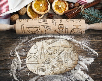 BACK TO SCHOOL. Engraved rolling pin for Cookies, Embossing Rollingpin, Laser Engraved Rolling-pin. Decorating Roller