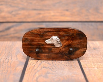 Azawakh - Unique wooden hanger with a relief  of a purebred dog. Perfect for a collar, harness or leash.