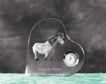 Icelandic horse- crystal clock in the shape of a heart with the image of a pure-bred horse.