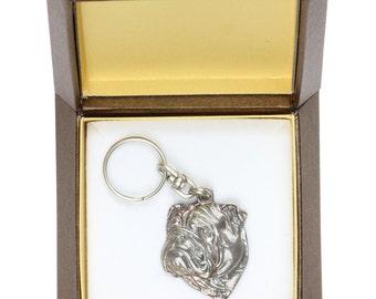 NEW, Bulldog, dog keyring, key holder, in casket, limited edition, ArtDog . Dog keyring for dog lovers