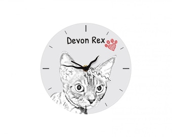 Devon rex, Free standing MDF floor clock with an image of a cat.