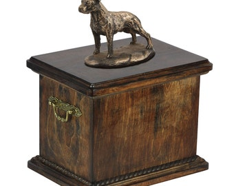 Urn for dog's ashes with a American Staffordshire Terrier uncropped statue, ART-DOG Cremation box, Custom urn.