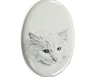 Turkish Angora- Gravestone oval ceramic tile with an image of a cat.