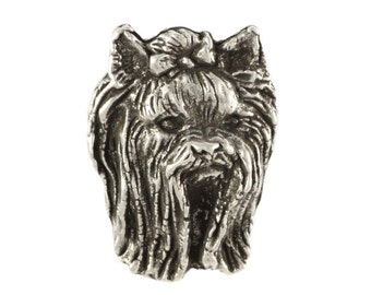 Yorkshire Terrier head, dog pin, limited edition, ArtDog