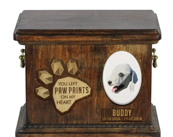 Urn for dog ashes with ceramic plate and sentence - Geometric Bedlington Terrier, ART-DOG. Cremation box, Custom urn.