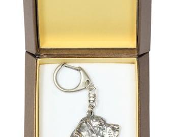 NEW, Beagle, Tricolour Beagle, dog keyring, key holder, in casket, limited edition, ArtDog . Dog keyring for dog lovers