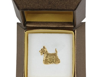 NEW, Scottish Terrier, dog pin, in casket, gold plated, limited edition, ArtDog