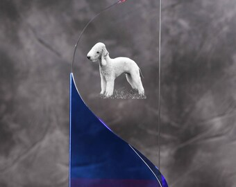 Bedlington Terrier- crystal statue in the likeness of the dog