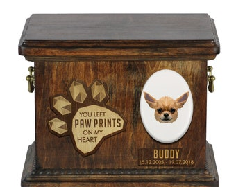 Urn for dog ashes with ceramic plate and sentence - Geometric Chihuahua, ART-DOG. Cremation box, Custom urn.