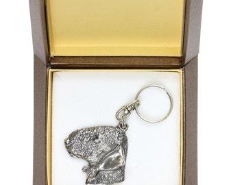 NEW, Bedlington Terrier, dog keyring, key holder, in casket, limited edition, ArtDog . Dog keyring for dog lovers