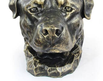 Urn for dog ashes - Rottweiler statue. ArtDog Collection Cremation box, Custom urn.