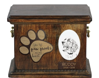 Urn for dog's ashes with ceramic plate and description - Springer Spaniel, ART-DOG Cremation box, Custom urn.