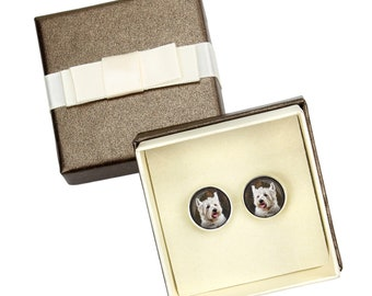 West Highland White Terrier. Cufflinks with box for dog lovers. Photo jewellery. Men's jewellery. Handmade