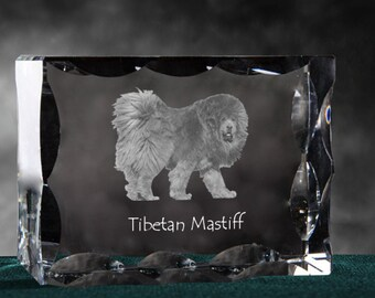 Tibetan Mastiff, Cubic crystal with dog, souvenir, decoration, limited edition, Collection