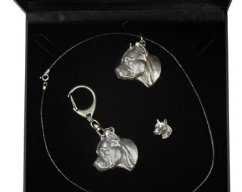 NEW, American Staffordshire Terrier, dog keyring, necklace and pin in casket, DELUXE set, limited edition, ArtDog