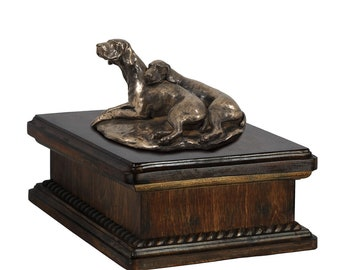 Exclusive Urn for dog's ashes with a Weimaraner paur statue, ART-DOG. New model Cremation box, Custom urn.