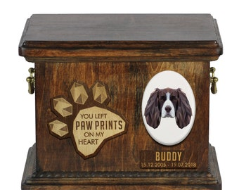 Urn for dog ashes with ceramic plate and sentence - Geometric English Springer Spaniel, ART-DOG. Cremation box, Custom urn.