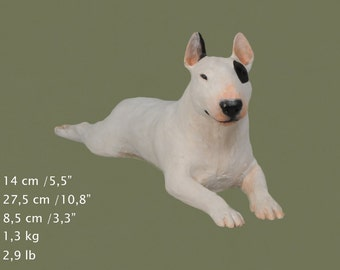 Bull Terrier, dog lying statue, painted, limited edition, make your own statue, ArtDog