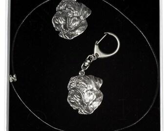 NEW, Dogue de Bordeaux, dog keyring and necklace in casket, ELEGANCE set, limited edition, ArtDog . Dog keyring for dog lovers