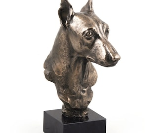 Miniature Pinscher, dog marble statue, limited edition, ArtDog. Made of cold cast bronze. Perfect gift. Limited edition