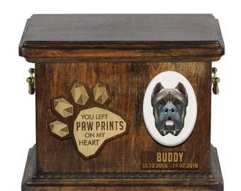 Urn for dog ashes with ceramic plate and sentence - Geometric Cane Corso, ART-DOG. Cremation box, Custom urn.