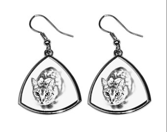 Ocicat, collection of earrings with images of purebred cats, unique gift. Collection!