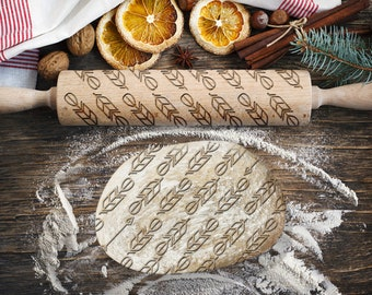 Engraved rolling pin. Original shape. ARROWS pattern. Laser Engraved for cookies. Decorating roller