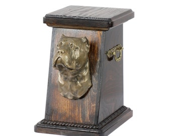 Urn for dog's ashes with a Cane Corso, Italian mastiff statue, ART-DOG Cremation box, Custom urn. Cremation box, Custom urn.