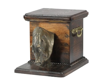 Urn for horse ashes with a standing statue -Arabian horse, ART-DOG Cremation box, Custom urn.