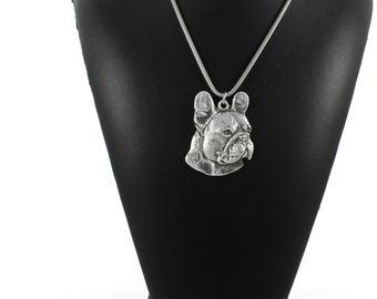 NEW, French Bulldog (right-oriented), dog necklace, silver cord 925, limited edition, ArtDog