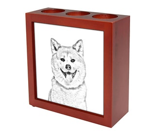 Akita Inu - Wooden stand for candles/pens with the image of a dog ! NEW COLLECTION!