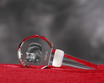 Korat, Crystal Wine Stopper with cat, Wine and Cat Lovers, High Quality, Exceptional Gift. New Collection