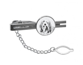 NEW! Bearded Collie - Tie pin with an image of a dog.