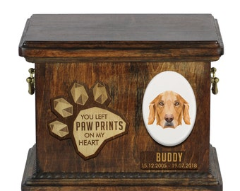Urn for dog ashes with ceramic plate and sentence - Geometric Golden Retriever, ART-DOG. Cremation box, Custom urn.