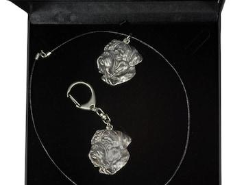 NEW, Dogue de Bordeaux, dog keyring and necklace in casket, DELUXE set, limited edition, ArtDog . Dog keyring for dog lovers