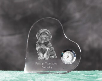 Bolonka- crystal clock in the shape of a heart with the image of a pure-bred dog.