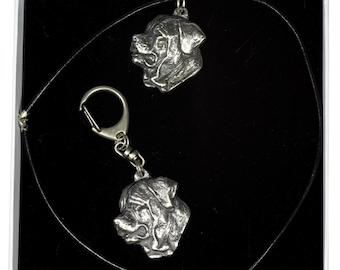 NEW, Tosa Inu, dog keyring and necklace in casket, ELEGANCE set, limited edition, ArtDog . Dog keyring for dog lovers