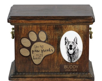 Urn for dog's ashes with ceramic plate and description - Malinois, ART-DOG Cremation box, Custom urn.