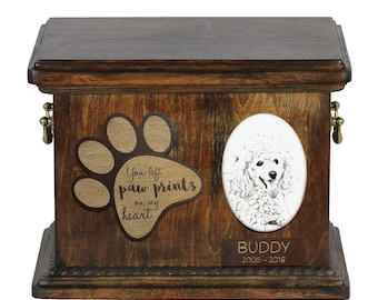 Urn for dog's ashes with ceramic plate and description - Poodle, ART-DOG Cremation box, Custom urn.