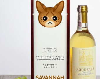 Let's celebrate with Savannah cat. A wine box with the cute Art-Dog cat