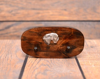 Cesky Terrier - Unique wooden hanger with a relief of a purebred dog. Perfect for a collar, harness or leash.