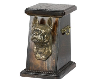 Urn for dog's ashes with a Boston Terrier statue, ART-DOG Cremation box, Custom urn.