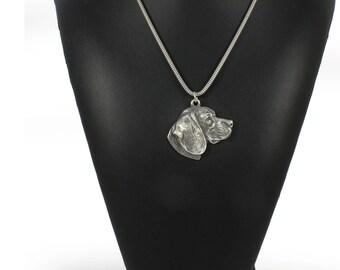 NEW, Beagle, Tricolour Beagle, dog necklace, silver chain 925, limited edition, ArtDog