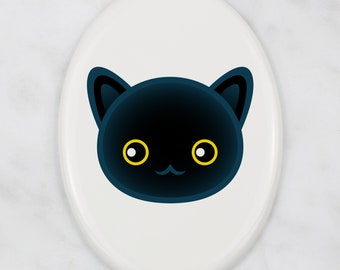 A ceramic tombstone plaque with a Bombay cat. Art-Dog cute cat