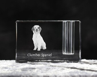 Clumber Spaniel, crystal pen holder with dog, souvenir, decoration, limited edition, Collection