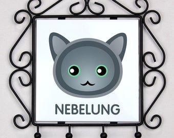 A key rack, hangers with Nebelung cat. A new collection with the cute Art-dog cat